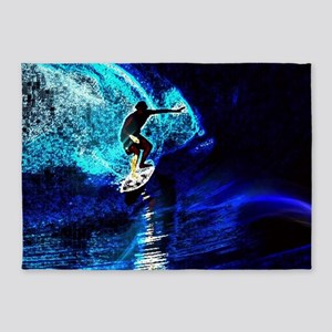 beach blue waves surfer 5'x7'Area Rug