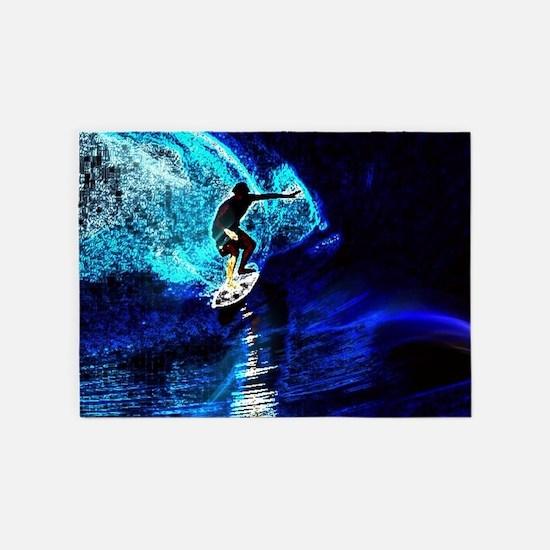 beach blue waves surfer 5'x7'Area Rug