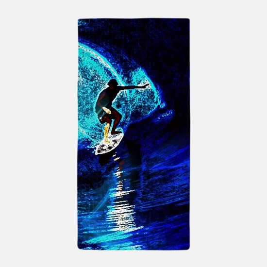 beach blue waves surfer Beach Towel