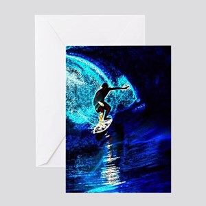 beach blue waves surfer Greeting Cards