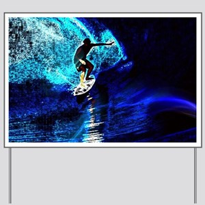 beach blue waves surfer Yard Sign