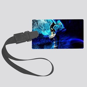 beach blue waves surfer Large Luggage Tag