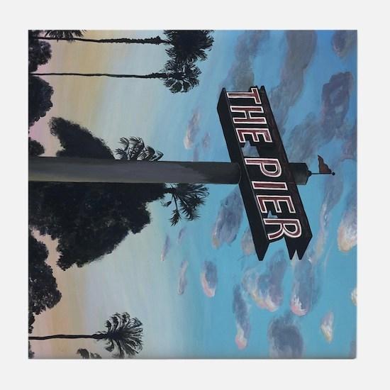 Redondo Beach Pier Beach Tile Coaster