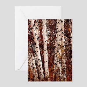 fall landscape birch tree Greeting Cards