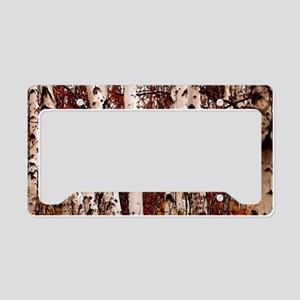 fall landscape birch tree License Plate Holder