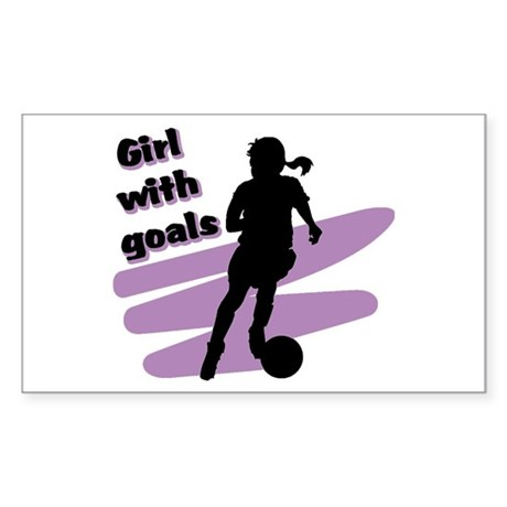 Girl with goals Rectangle Sticker