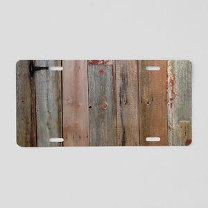 rustic western barn wood Aluminum License Plate