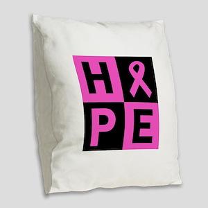 Breast Cancer Awareness hope Burlap Throw Pillow