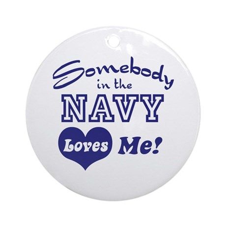 Somebody in the Navy Loves Me Ornament (Round)