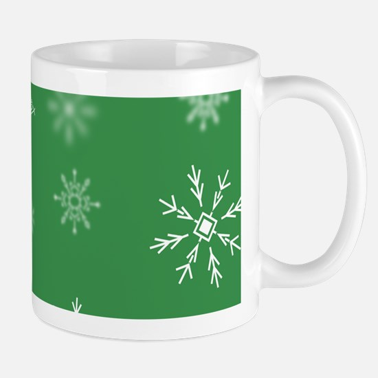 Christmas Snowflakes: Green Background Mug