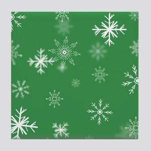 Christmas Snowflakes: Green Backgroun Tile Coaster