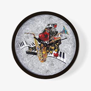 Music Decor Piano Sax Swirl Music Art P Wall Clock