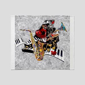 Music Decor Piano Sax Swirl Music Ar Throw Blanket