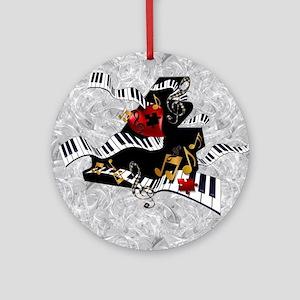 Grand Piano Art Music Theme Art Cur Round Ornament