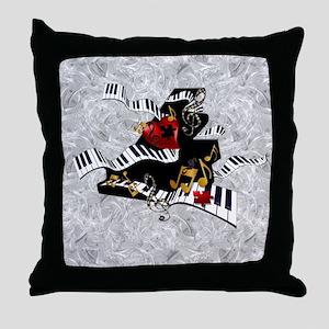 Grand Piano Art Music Theme Art Curvy Throw Pillow