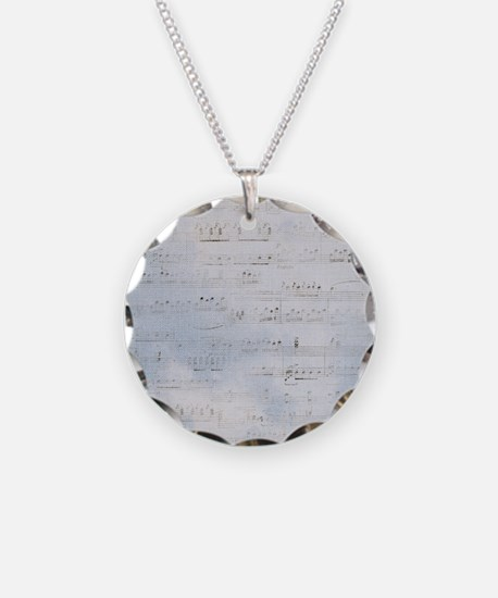 Distressed Blue Musical Score Necklace