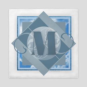M Monogram - Letter M - Blue Queen Duvet