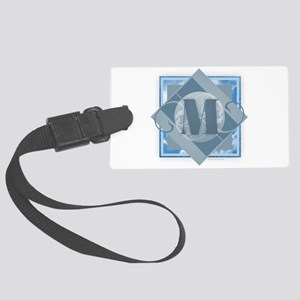 M Monogram - Letter M - Blue Large Luggage Tag