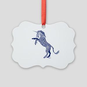 Blue Unicorn Picture Ornament