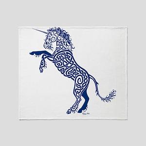 Blue Unicorn Throw Blanket