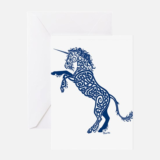 Blue Unicorn Greeting Cards