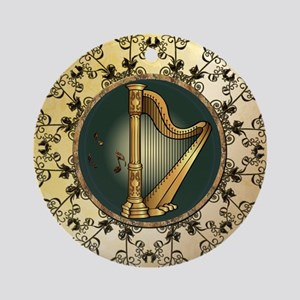 Golden harp Round Ornament