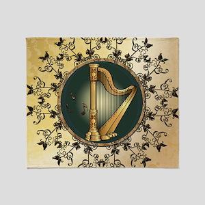 Golden harp Throw Blanket