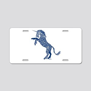 Blue Unicorn Aluminum License Plate