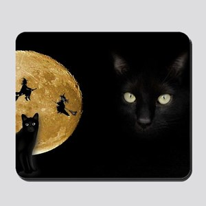 Black Cat Moon Mousepad