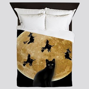 Black Cat Moon Queen Duvet