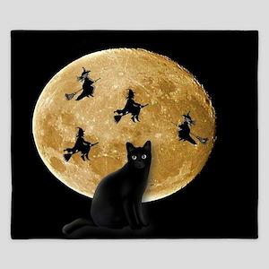Black Cat Moon King Duvet