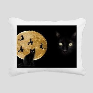 Black Cat Moon Rectangular Canvas Pillow