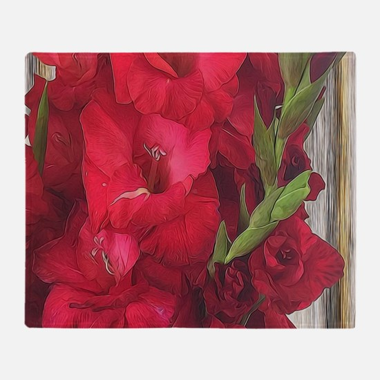 Red Gladiolas Throw Blanket
