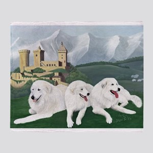 Three Great Pyrenees At Foix Throw Blanket