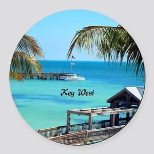 Key West, Florida - Paradise Round Car Magnet