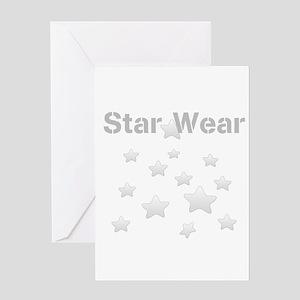 Star Wear Glossy Silver Star Pattern Greeting Card
