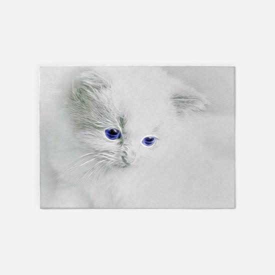 White Kitten 5'x7'Area Rug