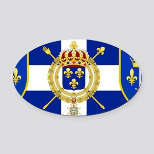 White Cross Blue Shield Oval Car Magnet