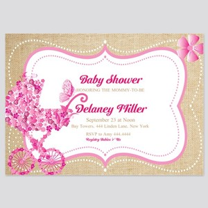 Baby shower invitations and announcements cafepress rustic floral pram baby shower invitations filmwisefo
