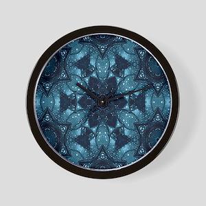 hipster mandala teal flower  Wall Clock