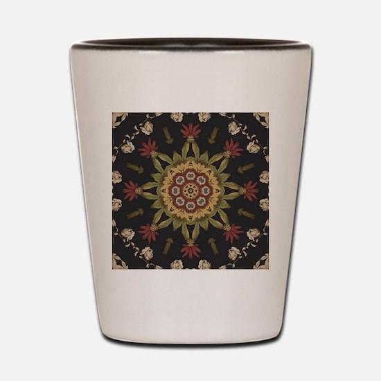 hipster vintage floral mandala Shot Glass