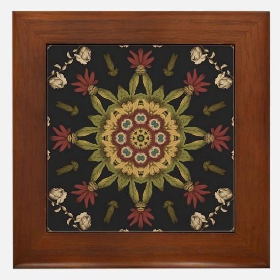 hipster vintage floral mandala Framed Tile