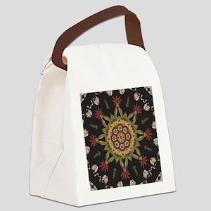 hipster vintage floral mandala Canvas Lunch Bag