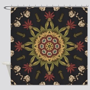hipster vintage floral mandala Shower Curtain