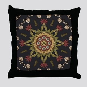 hipster vintage floral mandala Throw Pillow