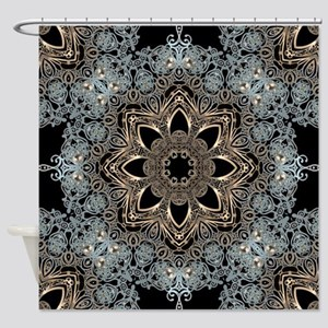 bohemian floral metallic mandala Shower Curtain