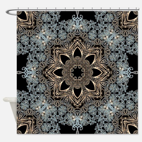 bohemian floral metallic mandala Shower Curtain