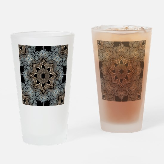 bohemian floral metallic mandala Drinking Glass