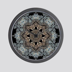 bohemian floral metallic mandala Wall Clock