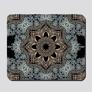 bohemian floral metallic mandala Mousepad